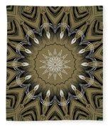 Coffee Flowers 4 Olive Ornate Medallion Fleece Blanket