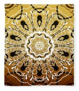 Coffee Flowers 5 Calypso Ornate Medallion Fleece Blanket