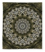 Coffee Flowers 6 Olive Ornate Medallion Fleece Blanket