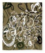 Coffee Flowers 7 Olive Fleece Blanket