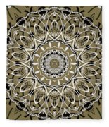 Coffee Flowers 7 Olive Ornate Medallion Fleece Blanket