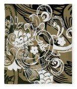 Coffee Flowers 8 Olive Fleece Blanket