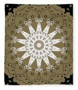 Coffee Flowers 9 Olive Ornate Medallion Fleece Blanket