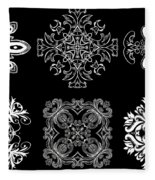 Coffee Flowers Ornate Medallions Bw 6 Peice Collage Fleece Blanket