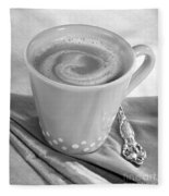 Coffee In Tall Yellow Cup Black And White Fleece Blanket
