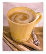 Coffee In Yellow Cup Fleece Blanket
