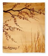 Coffee Painting Cherry Blossoms Fleece Blanket