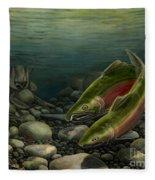 Coho Fishing Fleece Blanket