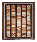 Coin Quilt -  Painting - Brown And White Patches Fleece Blanket