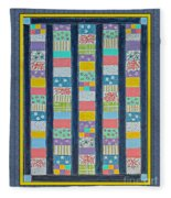 Coin Quilt -  Painting - Multicolors - Borders Fleece Blanket