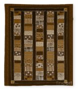 Coin Quilt - Painting - Sepia Patches Fleece Blanket