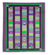 Coin Quilt - Quilt Painting - Purple And Green Patches Fleece Blanket