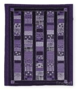 Coin Quilt -quilt Painting - Purple Patches Fleece Blanket