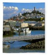 Coit Tower And Marina - San Francisco Fleece Blanket