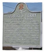 Colbert's Ferry Historical Sign Fleece Blanket
