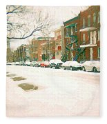 Cold Day In Montreal Pointe St Charles Art Winter Cityscene Painting After Big Snowfall Psc Cspandau Fleece Blanket