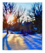 Cold Morning Sun Fleece Blanket
