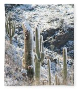 Cold Saguaros Fleece Blanket