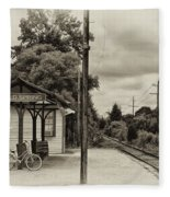 Cold Spring Train Station In Sepia Fleece Blanket