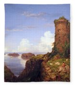 Cole's Italian Coast Scene With Ruined Tower Fleece Blanket