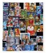 Collage Snowman Horz Photo Art Fleece Blanket