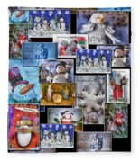Collage Xmas Cards Vertical Photo Art Fleece Blanket