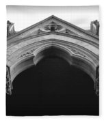 College Hall Entry - Black And White Fleece Blanket