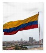 Colombian Flag Over Cartagena Fleece Blanket
