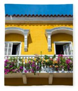 Colonial Balcony In Cartagena Fleece Blanket