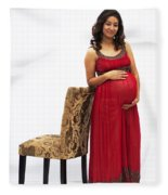 Color Portrait Young Pregnant Spanish Woman Leaning On Chair Fleece Blanket