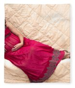 Color Portrait Young Pregnant Spanish Woman Reclining Fleece Blanket