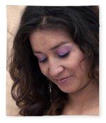 Color Portrait Young Spanish Woman II Fleece Blanket