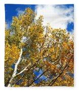 Colorado Aspens And Blue Skies Fleece Blanket