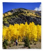 Colorado Autumn Hike Fleece Blanket