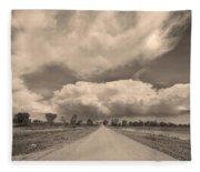 Colorado Country Road Sepia Stormin Skies Fleece Blanket