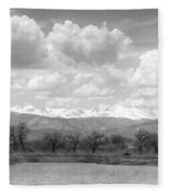 Colorado Front Range Rocky Mountains Panorama Bw Fleece Blanket