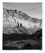 Colorado River Cliff Bw Fleece Blanket