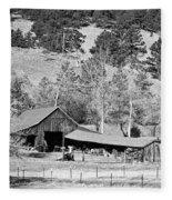 Colorado Rocky Mountain Barn Bw Fleece Blanket