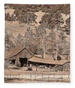 Colorado Rocky Mountain Barn Sepia Fleece Blanket