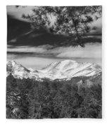 Colorado Rocky Mountain View Black And White Fleece Blanket