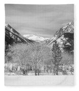 Colorado Rocky Mountain Winter Horseshoe Park Bw Fleece Blanket