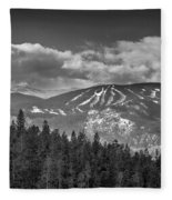 Colorado Ski Slopes In Black And White Fleece Blanket