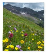 Colorado Wildflowers And Mountains Fleece Blanket