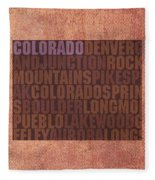 Colorado Word Art State Map On Canvas Fleece Blanket by Design Turnpike