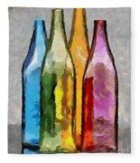 Colored Glass Bottles Fleece Blanket