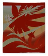 Colored Jungle Red Fleece Blanket