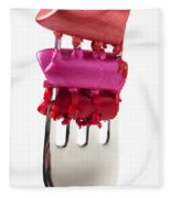 Colored Lipstick On Fork Fleece Blanket
