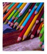 Colored Pencils On Wooden Flag Fleece Blanket