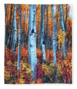 Colorful Aspens Fleece Blanket