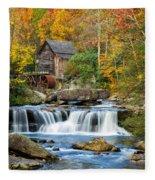 Colorful Autumn Grist Mill Fleece Blanket